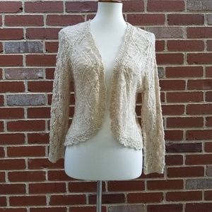 Cream Open Knit Shrug
